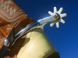 A Close-up of a Shiny Silver Spur on the Back of a Cowboy Boot
