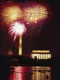 July 4th Fireworks over Washington Landmarks and the Potomac River