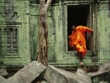 Angkor Wat Temple with Monk, Siem Reap, Cambodia