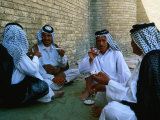 Men Drinking Tea Outside the Holy Shrine of the Imam Ali Ibn Abi Talib, an Najaf, Iraq