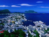 Town Buildings and Surrounding Water from Aksla, Alesund, Norway