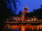 Tivoli Gardens Chinese Pagoda Restaurant at Night, Copenhagen, Denmark