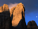 Buy Moon Above Tre Cimo Di Lavaredo at Dawn, Dolomiti Di Sesto Natural Park, Trentino-Alto-Adige, Italy at AllPosters.com