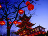 Chinese Pagoda and Tree Lanterns in Tivoli Park, Copenhagen, Denmark