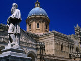 Buy Statue and Palermo Cathedral, Palermo, Sicily, Italy at AllPosters.com