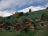Wooden Chalets on Slope with Snow-Capped Peaks in the Background, Rougemont, Switzerland
