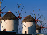 Windmills on the Island of Mykonons,Mykonos Island, Greece