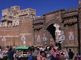 Market Stalls in Front of Bab Al-Yaman (Gate of Yemen), San'a, Yemen