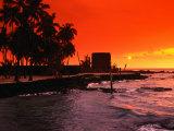 Buy Orange Sunset Over the Sacred Bay, South Kona Coast, Puuhonua O Honaunau National Park, Hawaii, USA at AllPosters.com