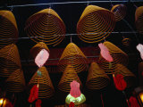 Incense Coils Hanging in Man Mo Temple, Hong Kong