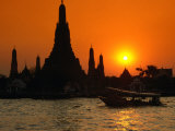 Sunset Over Temple of Dawn (Wat Arun) on River Mae Nam Chao Phraya, Bangkok, Thailand