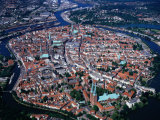 Aerial View of City Beside Danube River, Ulm, Germany