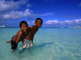 Young Boys Playing in Water at White Beach, Boracay Island, Aklan, Philippines