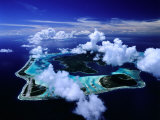 Aerial View of Islands and Surrounding Reefs, French Polynesia