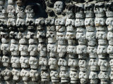 Wall of Skulls in Templo Mayor, Zocalo District, Mexico City, Mexico