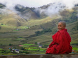 Monk and Farmlands in the Phobjikha Valley, Gangtey Village, Bhutan Photographic Print
