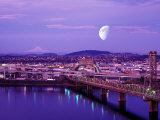Moon Over the City with Mt Hood in the Background, Portland, Oregon, USA