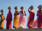 Women Carrying Pottery Jugs of Water, Thar Desert, Jaisalmer, Rajasthan, India Photographic Print