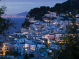 Evening View of Capri Town from Via Castello, Bay of Naples, Campania, Italy