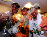Kevin Garnett, Ray Allen, & Paul Pierce with the 2007-08 NBA Champion trophy