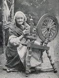 An Old Irishwoman at Her Spinning-Wheel