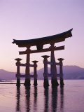 Sunset, Torii Gate, Itsukushima Shrine, Miyajima Island, Honshu, Japan Photographic Print