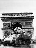 A Tank of the French Armored Division Passes by the Arc De Triomphe
