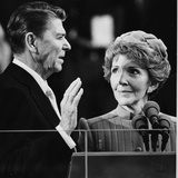Nancy Reagan Proudly Watches as Her Husband Ronald Reagan Takes the Oath of Office