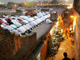Indian Muslims Take Their Evening Prayers