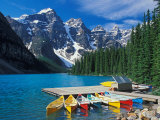 Canoes on Moraine Lake, Banff National Park, Alberta, Canada Photographic Print