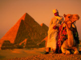 Camel and Driver Resting near the Great Pyramids, Egypt