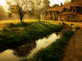 Morning Mist on Rack Isle Outside Weavers' Cottages, Arlington Row, Bibury, United Kingdom