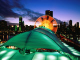 Overhead of Navy Pier and Ferris Wheel with City Skyline at Dusk, Chicago, United States of America