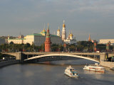 Kremlin and Moskva River from Pedestrian Bridge at Cathedral of Christ the Saviour, Moscow, Russia