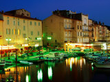 Harbour at Night with Buildings Along Quais Frederic Mistral and Jean Jaures, St. Tropez, France Photographic Print
