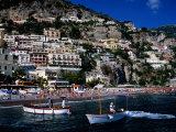 Houses Terraced into Rugged Amalfi Coastline, Boats in Foreground, Positano, Italy