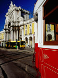 Tram on Praca De Commercio, Lisbon, Portugal