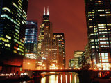 Chicago River and Downtown Buildings at Night, Chicago, United States of America