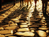 Via Sacra Cobblestones and Pedestrian Shadows at Roman Forum, Rome, Italy