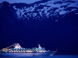 A Cruise Ship on Lynn Canal, Lit Up in the Early Evening, Alaska, Lynn Canal, USA