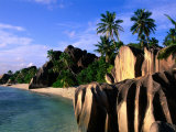 Eroded Granite Formations on Beach, Anse Source D'Argent, Seychelles