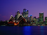 Opera House and City Skyline at Dusk, Sydney, Australia