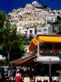 Waterfront Restaurant with Steep Terrace of Houses in Background, Positano, Italy