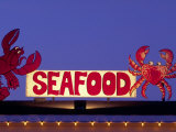 Seafood Sign at Night, Cape Breton, Nova Scotia, Canada