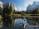 Valley View of El Capitan, Cathedral Rock, Merced River in Yosemite National Park, California, USA