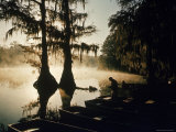Classic Southern Scene of Fisherman Readying Equipment by the Texas/Louisiana Border