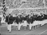 Rafer Johnson Leading USA Athletes During the Opening Day. 1960 Olympics. Rome, Italy Premium Photographic Print