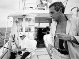 Actor Paul Newman Fishing with a Friend Premium Photographic Print