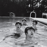 Paul McCartney, George Harrison, John Lennon and Ringo Starr Taking a Dip in a Swimming Pool Premium Photographic Print