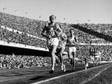 Czech Track and Field Gold Medalist Emil Zatopek, Leading Pack, Competing in 1952 Olympic Games Premium Photographic Print